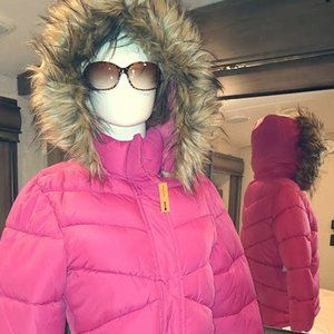 Arizona Jean Co. Puffer Coat - Pink w Faux Fur
